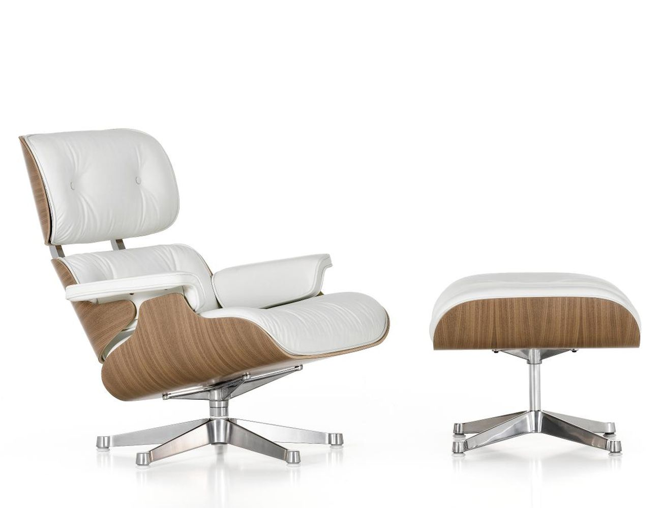 vitra lounge chair and ottoman white